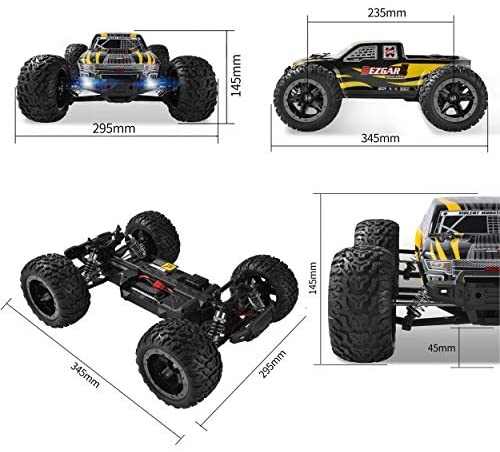 510LbKJTjZL. AC  - BEZGAR 1 Hobby Grade 1:10 Scale Remote Control Truck, 4WD High Speed 48+ kmh All Terrains Electric Toy Off Road RC Monster Vehicle Car Crawler with 2 Rechargeable Batteries for Boys Kids and Adults