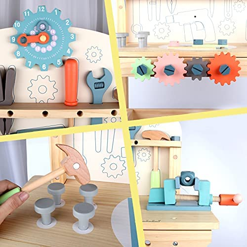 511CGY2U1wS. AC  - JOLIE VALLÉE TOYS & HOME Workbench Wooden,Tool Bench for Kids Toy Play -Tool Bench Workshop Workbench with Tools Set Wooden Construction Bench Toy for 3 4 5 Year Old Boys Girls