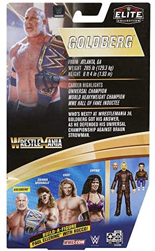 511YtjjjzVL. AC  - WWE Wrestlemania 37 Elite Collection Goldberg Action Figure with Universal Championship and Paul Ellering and Rocco BuildAFigure Pieces6 in Posable Collectible Gift Fans