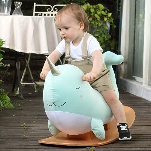 511d7KxkbfL. AC  - labebe -Narwhal Rocking Horse, Baby Wooden Rocking Chair for Child 1-3 Year Old, Kid Ride On Whale Rocker Animal Toy for Infant/Toddler Girl&Boy, Nursery Birthday Gift