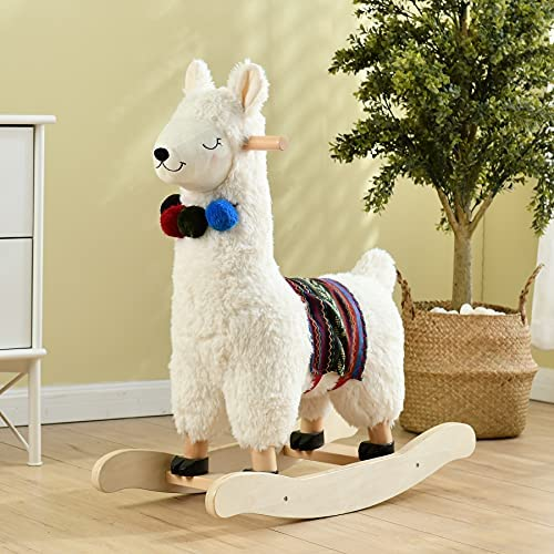 511gxNU+JfS. AC  - labebe - Baby Rocking Horse Wooden, Plush Stuffed Rocking Animals White, Kid Ride on Toys for 1-3 Years Old, Llama Rocking Horse for Girl&Boy, Toddler/Infant Rocker for Nursery, Kid Riding Toys/Horse