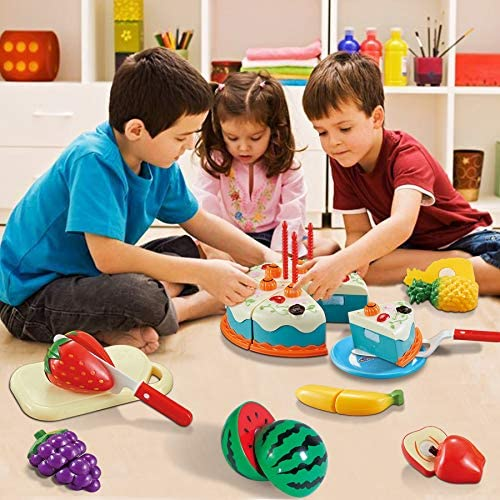 511oL+RXmaL. AC  - XQW Food Kids Toy Set , 35PCS Pretend Play Food Dessert Set - Happy Birthday Cake - Cut Fruit Play, Great for Any Toy Kitchen Set or for Birthday Party, Learning Gift for Girls Boys Kids (35pcs)