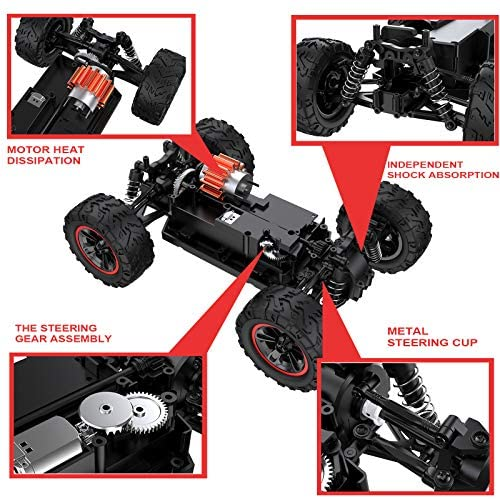 512Mqznia8L. AC  - Remote Control Car, Uniway Scale RC Cars 4WD 30 KM/H 2.4 GHZ High Speed Racing Car for Boys and Girl 6-12 Gift, 35+ Min Play, RC Trucks 4x4 Offroad with 2 Rechargeable Batteries-Black