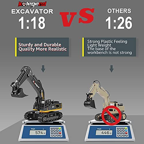 512vPKG+lKS. AC  - kolegend Remote Control Excavator Toy, 1/18 Scale RC Excavator Construction Vehicles Truck for Boys Girls Kids RC Tractor with Lights Rechargeable Battery