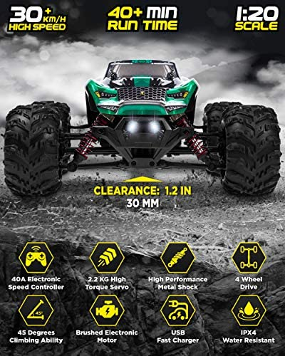 513UPXxS1cL. AC  - 1:20 Scale RC Cars 30+ kmh High Speed - Boys Remote Control Car 4x4 Off Road Monster Truck Electric - 4WD All Terrain Waterproof Toys Trucks for Kids and Adults - 2 Batteries for 40+ Min Play Time