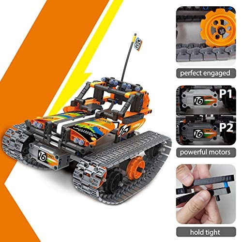 513um WI9gL. AC  - 3-in-1 STEM Remote Control Building Kits-Tracked Car/Robot/Tank, 2.4Ghz Rechargeable RC Racer Toy Set Gift for 8-12,14 Year Old Boys and Girls, Best Engineering Science Learning Kit for Kids (392pcs)