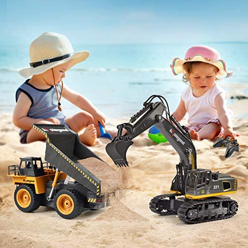 513yJT YtUL. AC  - kolegend Remote Control Excavator Toy, 1/18 Scale RC Excavator Construction Vehicles Truck for Boys Girls Kids RC Tractor with Lights Rechargeable Battery