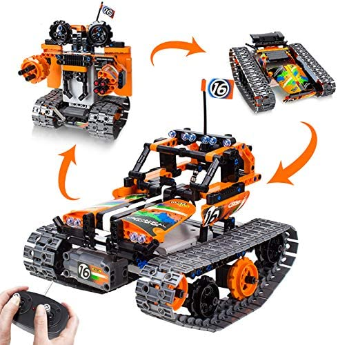 5146dzq3FFL. AC  - 3-in-1 STEM Remote Control Building Kits-Tracked Car/Robot/Tank, 2.4Ghz Rechargeable RC Racer Toy Set Gift for 8-12,14 Year Old Boys and Girls, Best Engineering Science Learning Kit for Kids (392pcs)