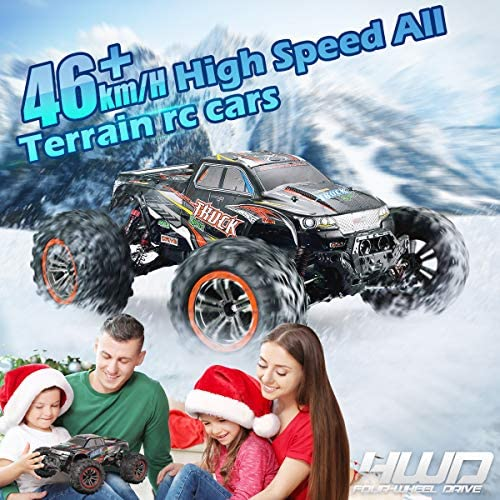 5147hb1EfxL. AC  - Hosim Large Size 1:10 Scale High Speed 46km/h 4WD 2.4Ghz Remote Control Truck 9125,Radio Controlled Off-Road RC Car Electronic Monster Truck R/C RTR Hobby Grade Cross-Country Car (Blue)