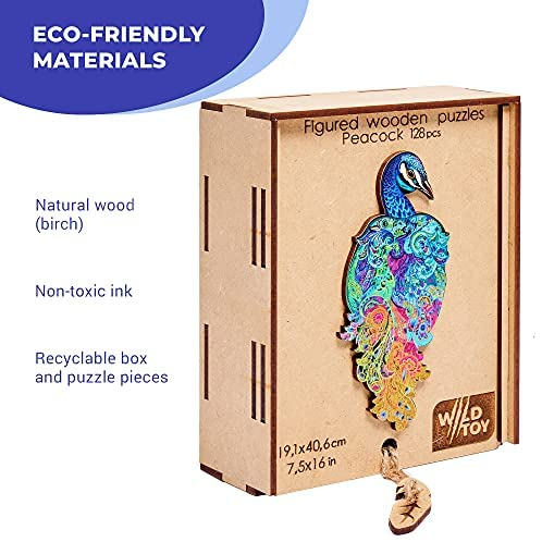 514vyXEYEsS. AC  - Wooden Puzzles for Adults Kids Families – Eastern Fairy Tale Peacock – Wood Jigsaw Animal Shaped Puzzles – 128 Unique Shape Pieces – Animal Crossing Puzzle Creative Gift – 7.5x16.0in (19x46cm)