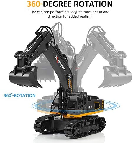 515GwLyciOL. AC  - kolegend Remote Control Excavator Toy, 1/18 Scale RC Excavator Construction Vehicles Truck for Boys Girls Kids RC Tractor with Lights Rechargeable Battery