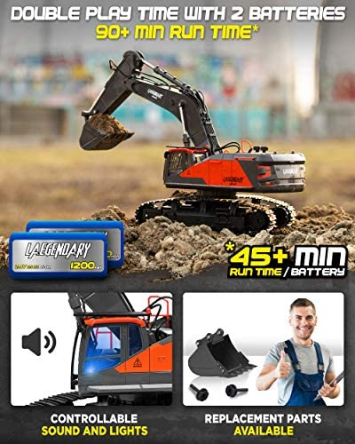 515on129n3L. AC  - 1:14 Scale Large Remote Control Excavator Toy for Boys and Adults – Compatible with Dump Truck RC Construction Vehicles - 22 Channel Full Functional Metal Shovel RC Truck - 2 Batteries & 2 Chargers