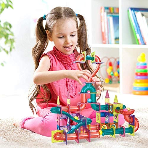5168tj6Cs1L. AC  - Magnetic Marble Run Building Set - 191 Piece - 3D Magnetic Tiles Ball Track -Building Kit Fun and Educational Toy STEAM Learning and Creativity Gift for Boys and Girls Ages 3 4 5 6 7 8 Years Old