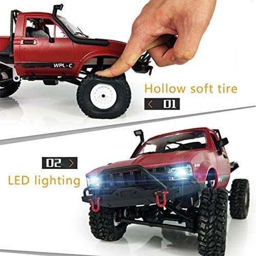 516HC3 rPQL. AC  - YIKESHU Rc Truck Remote Control Off-Road Racing Vehicles 1:16 2.4G 2CH 4WD Off-Road Kids RC Toy Climb Semi Truck RTR Trailer The LED Lights (Red)
