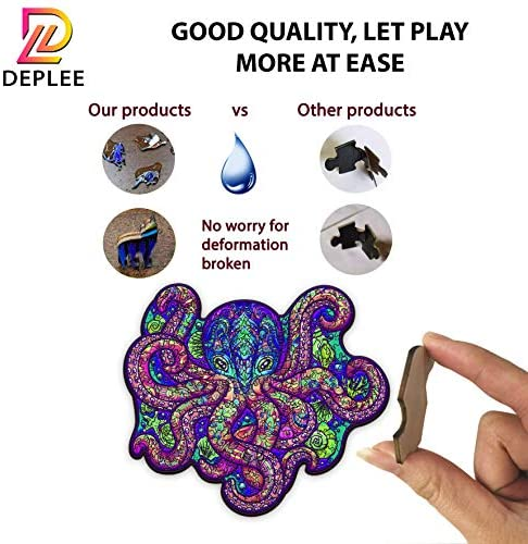516LWnlKjrL. AC  - DEPLEE Wooden Puzzle Jigsaw, Octopus Puzzle Toy Artwork, Animal Unique Shape Creative, Best Challenge Game for Adults, Kids, Family and Friend - 309 Pieces – 16.66 x 19.14 in (42.34x48.63 cm) - Large