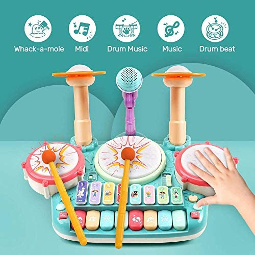 516NnxWbzUL. AC  - Besandy 5 in 1 Musical Instruments Toys - Kids Electronic Piano Keyboard Xylophone Drum Toys Set with Light 2 Microphone for Suitable for Children Over 3 Years Old