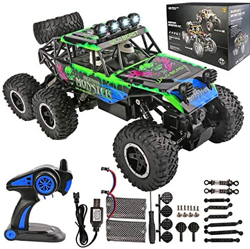 517++zSrmyL. AC  - Remote Control Car 1:12 Scale 6WD High Speed 15 Km/h All Terrain Off Road RC Monster Truck Crawler Electric Vehicle Toy with Rechargeable Battery and Light for Kids Boys Gift (Green)