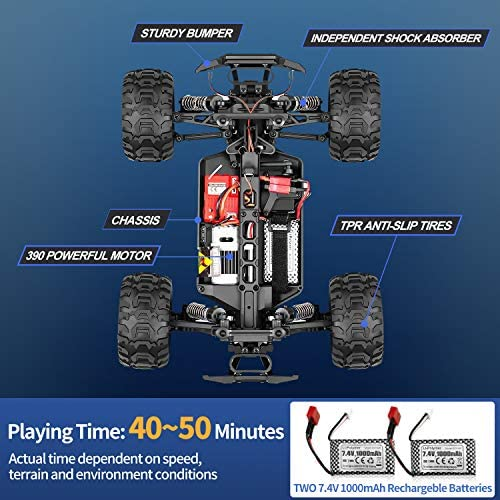517LfJgmgvL. AC  - RC Cars, Fcoreey RC Truck 1:16 Remote Control Car for Boys, 40 Km/h High Speed Racing Car, 2.4 GHz 4x4 Off Road Monster Truck, Electric Vehicle with LEDs, Hobby Car Toy Gift for Adults Kids Girl