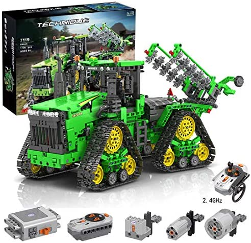 517YY8SHKkL. AC  - PHYNEDI 1:18 Simulation 2.4G Electric RC Track Tractors Vehicle Model Bricks Set Compatible with Lego, MOC DIY Assembly Small Particle Building Block Construction Toy Kit (1,706 Pieces)