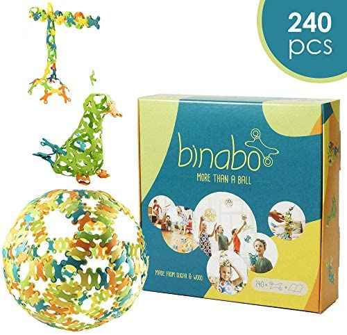 517tPzzHIDL. AC  - Binabo Construction Toy - Open-Ended, Easy Connections, Create Anything! - Made from 100% Renewable Resources (240 Pieces)