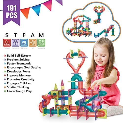 5185s H3EnL. AC  - Magnetic Marble Run Building Set - 191 Piece - 3D Magnetic Tiles Ball Track -Building Kit Fun and Educational Toy STEAM Learning and Creativity Gift for Boys and Girls Ages 3 4 5 6 7 8 Years Old