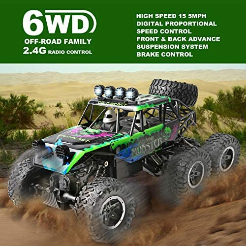 518J6patEGL. AC  - Remote Control Car 1:12 Scale 6WD High Speed 15 Km/h All Terrain Off Road RC Monster Truck Crawler Electric Vehicle Toy with Rechargeable Battery and Light for Kids Boys Gift (Green)