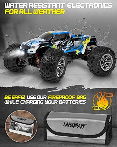 518c5fiHimL. AC  - 1:10 Scale Large RC Cars 48+ kmh Speed - Boys Remote Control Car 4x4 Off Road Monster Truck Electric - All Terrain Waterproof Toys Trucks for Kids and Adults - 2 Batteries + Connector for 40+ Min Play