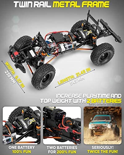 518hTooH2rL. AC  - 1:10 Scale Large RC Rock Crawler - 4WD Off Road RC Cars - Remote Control Car 4x4 Electric Truck - IPX5 Waterproof Trucks for Adults - RTR with 5Ch Remote, Battery and Charger