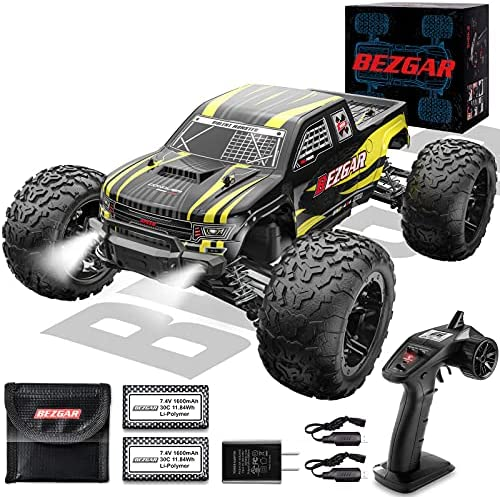 519Fr 3360S. AC  - BEZGAR 1 Hobby Grade 1:10 Scale Remote Control Truck, 4WD High Speed 48+ kmh All Terrains Electric Toy Off Road RC Monster Vehicle Car Crawler with 2 Rechargeable Batteries for Boys Kids and Adults