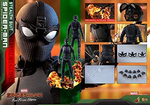 519Y5InSlLL. AC  - Hot Toys Movie Masterpiece 1/6 Scale Action Figure Spider-Man (Stealth Suit) MMS541 Far from Home Deluxe Version Tom Holland