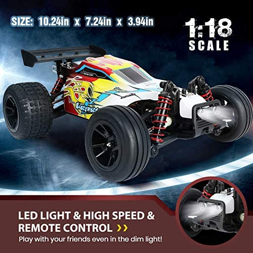 519aePRCP4L. AC  - RC Car 1/18 High Speed 4WD Electric Remote Control Car, 30+MPH 2.4GHz All Terrain Off-Road Rally Buggy Racing Cars Toys, with Two Rechargeable Batteries for 40+ Min Play, Gift for Boys Teens Adults
