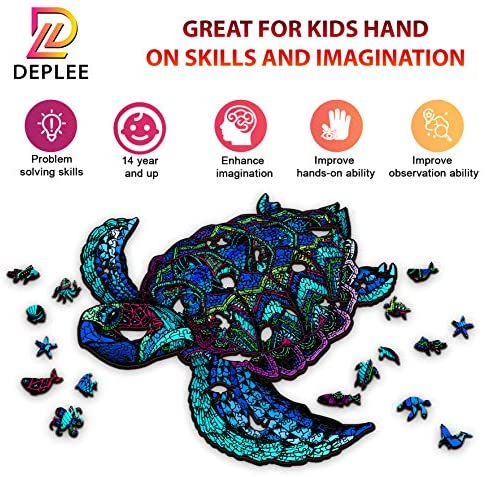 51AInv6LUQL. AC  - DEPLEE Wooden Puzzle Jigsaw, Turtle Puzzle Toy Artwork, Animal Unique Shape Creative, Best Challenge Game for Adults, Kids, Family and Friend - 304 Pcs – 16.35 x 19.18 in (41.54x48.72cm)- Super King