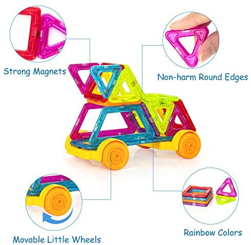51AnooS9c+L. AC  - Magnetic Building Blocks for Kids, 184PCS Colorful Magnet Tiles with Multiple Shapes, Strong Magnets, 3D STEM Educational Toy for 3+ Year Old Girls Boys