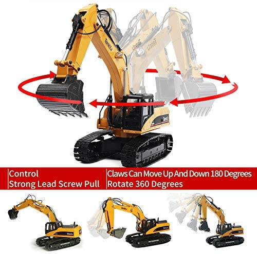51BFu9O5xdL. AC  - TongLi 1580 1:14 Scale All Metal RC Excavator Toy for Adults Remote Control Digger Construction Trucks 2.4Ghz Powerful Upgraded V4 with New Motherboard