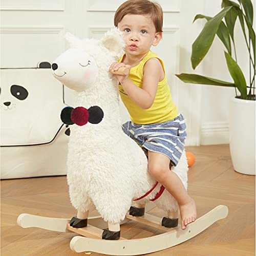51BNk09yNwS. AC  - labebe - Baby Rocking Horse Wooden, Plush Stuffed Rocking Animals White, Kid Ride on Toys for 1-3 Years Old, Llama Rocking Horse for Girl&Boy, Toddler/Infant Rocker for Nursery, Kid Riding Toys/Horse