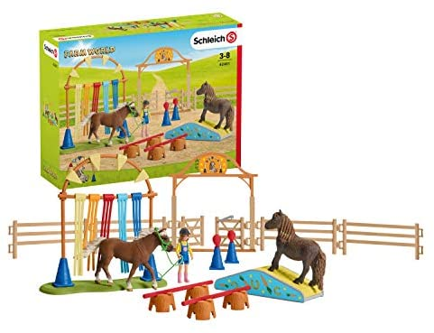 51BsvuIzhIL. AC  - Schleich Farm World Pony Agility Training 41-piece Horse Playset for Kids Ages 3-8