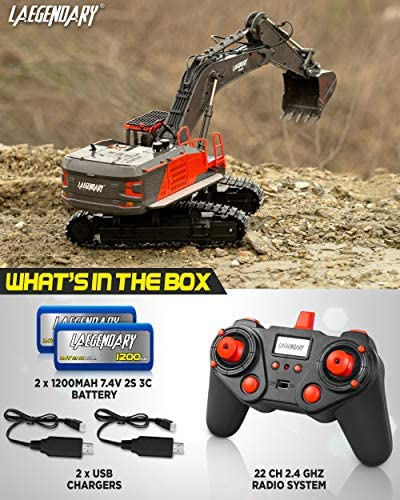 51BzR99aCZL. AC  - 1:14 Scale Large Remote Control Excavator Toy for Boys and Adults – Compatible with Dump Truck RC Construction Vehicles - 22 Channel Full Functional Metal Shovel RC Truck - 2 Batteries & 2 Chargers