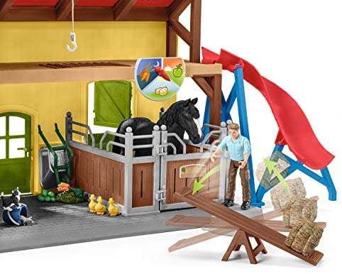 51Cdhi+MiTL. AC  - Schleich Farm World, 30-Piece Playset, Farm Toys and Farm Animals for Kids Ages 3-8, Horse Stable
