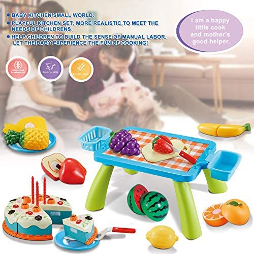 51CmQhyol2L. AC  - XQW Food Kids Toy Set , 35PCS Pretend Play Food Dessert Set - Happy Birthday Cake - Cut Fruit Play, Great for Any Toy Kitchen Set or for Birthday Party, Learning Gift for Girls Boys Kids (35pcs)
