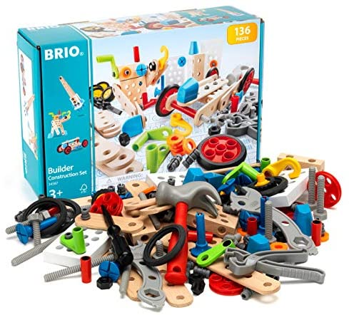 51CnBBdeFwL. AC  - BRIO Builder 34587 - Builder Construction Set - 136-Piece Construction Set STEM Toy with Wood and Plastic Pieces for Kids Age 3 and Up