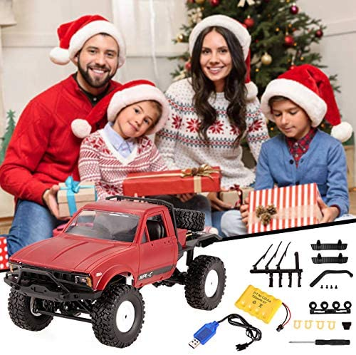 51D3ymxIHYL. AC  - YIKESHU Rc Truck Remote Control Off-Road Racing Vehicles 1:16 2.4G 2CH 4WD Off-Road Kids RC Toy Climb Semi Truck RTR Trailer The LED Lights (Red)