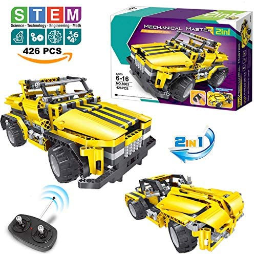 51D93YgK ZL. AC  - STEM Toys Remote Control Building Sets for Boys 8-12 | 426 Pcs RC engineering Kit Builds Off Road Car or RC Racer (2in1) STEM Building Toy Set for Kids - Ages 6 7 8 9 10 11 12 Years Old, Boy Toys Gift