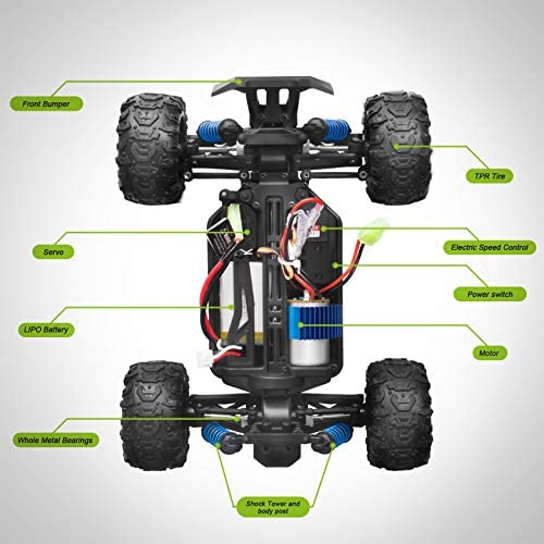 51DW5OYbMSL. AC  - VCANNY Remote Control Car, Terrain RC Cars, Electric Remote Control Off Road Monster Truck, 1: 18 Scale 2.4Ghz Radio 4WD Fast 30+ mph RC Car, with 2 Rechargeable Batteries