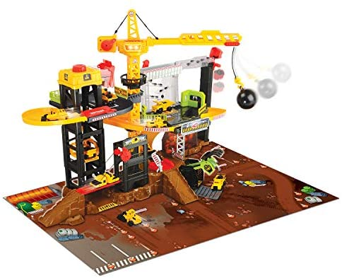 51DqWld3NtL. AC  - Dickie Toys - Construction Playset With 4 Die-Cast Cars
