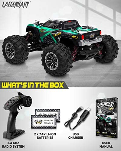 51EQ2GO8NzL. AC  - 1:20 Scale RC Cars 30+ kmh High Speed - Boys Remote Control Car 4x4 Off Road Monster Truck Electric - 4WD All Terrain Waterproof Toys Trucks for Kids and Adults - 2 Batteries for 40+ Min Play Time