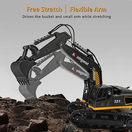 51EiMLh wQL. AC  - kolegend Remote Control Excavator Toy, 1/18 Scale RC Excavator Construction Vehicles Truck for Boys Girls Kids RC Tractor with Lights Rechargeable Battery