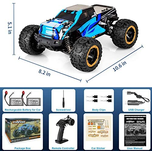 51F 2L3glnL. AC  - RC Cars, Fcoreey RC Truck 1:16 Remote Control Car for Boys, 40 Km/h High Speed Racing Car, 2.4 GHz 4x4 Off Road Monster Truck, Electric Vehicle with LEDs, Hobby Car Toy Gift for Adults Kids Girl
