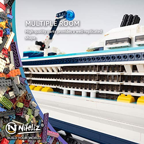 51F cwahKDL. AC  - Nifeliz Cruise Liner Model, Toy Boat Building Blocks Kits and Engineering Toy, Construction Set to Build, Model Set and Assembly Toy for Teens(2428 Pcs)