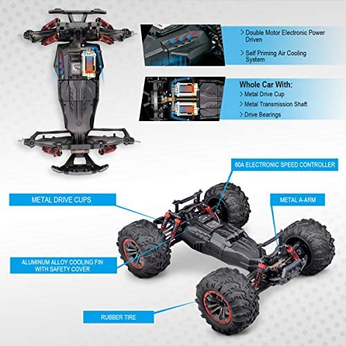 51FnVEq34sL. AC  - Hosim Large Size 1:10 Scale High Speed 46km/h 4WD 2.4Ghz Remote Control Truck 9125,Radio Controlled Off-Road RC Car Electronic Monster Truck R/C RTR Hobby Grade Cross-Country Car (Blue)