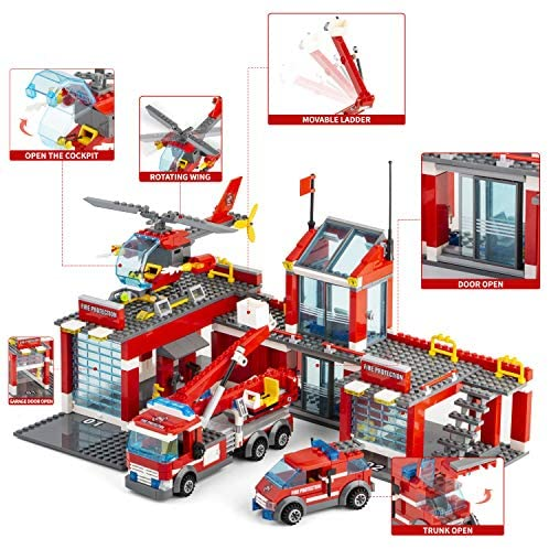 51Fr5RiCEwL. AC  - QLT City Fire Station Building Kit Stem Toys,744 Pcs Fire Truck Helicopter Building Blocks Models,Creative Education DIY Learning Consturction Bricks Sets Toys for Kids Gifts